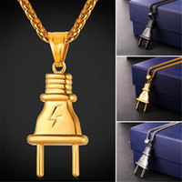Wholesale Plugs Steel - U7 New Fashion Plug Pendant Necklace Stainless Steel Black Gun Gold Plated Pendant Rope Chain for Men Women Hiphop Jewelry Perfect GP2411