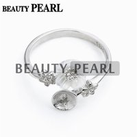 Bulk of 3 Pieces Configurações do anel White Shell Flowers 925 Sterling Silver para DIY Pearl Ring Mount