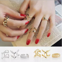 Wholesale open metal ring - 3 pcs Set Women Fashion Personality Punk Metal Hollow Out Gold Silver V Design Open Rings Exaggerated Finger Joint Arrow Deformation Rings