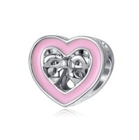Fit Pandora Bracelets 30pcs Pink Heart Bowknot Silver Enamel Charm Bead Loose Beads para atacado Diy European Sterling Necklace Jewelry