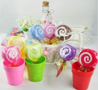 Wholesale Towel Ideas - 5Pcs Lot Holiday Decoration Christmas Gift Lollipop Towel Wedding Gifts Birthday Gift Ideas 20cmX20cm Multicolor