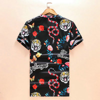 Wholesale Spring summer suprem G and G T shirt tee High street tiger down mountain painting High street fashion clothing loose blue XL