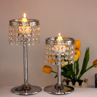 Wholesale Metal Lantern Holders - Christmas Crystal Chain Candle Holder Metal Candelabra Wedding Centerpiece Decorative Moroccan Lanterns Candlestick Votice Candle Stand