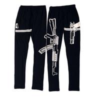 ingrosso le gambali delle pistole-2016 Personalizzato Nero Elastico in cotone Leggings Machine Gun modello stampato Fitness allenarsi leggings pantaloni slim