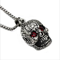 Wholesale New Arrival Vintage Fashion Necklace - New arrival fashion halloween gift personality vintage Titanium red stone skeleton skull pendant necklace casting stainless steel jewelry