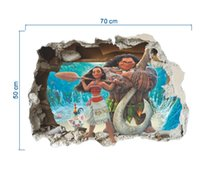 Wholesale Decorative Wall Murals Children - 3D Moana Mural Decorative painting Wall Stickers For Kids Rooms Children Wall Art Decal Mural Wallpaper Home Decor