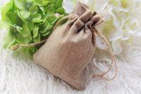Wholesale Wedding Gifts Bomboniere - Wholesale-50pcs lot Faux Natural Hessian Mini Bag Wedding decoration sack bomboniere Gift bags 8.5x11.5cm