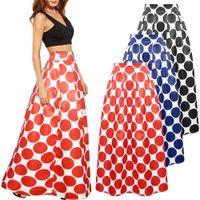 Wholesale Polka Dot Skirt Ladies - Long Polka Dot Skirt Maxi Women Vintage High Waist Lady Casual Tutu Bohemian A-line Skirts