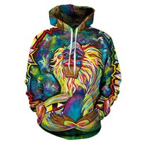 Wholesale Realistic Man Body - 2016 new lion painting realistic body 3D digital printing for men and women with cap hoodies