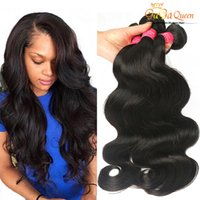 Wholesale Queens Brazilian Body Wave - 8A Peruvian Body Wave Virgin Hair 4 Bundles Peruvian Brazilian Indian Malaysian Human Hair Weaves Hair Dyeable Natural Color Gaga Queen