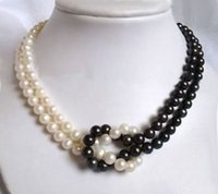 Wholesale Black Pearls 8mm - 2Rows 7-8mm Black  White Akoya Cultured Pearl Necklace M014