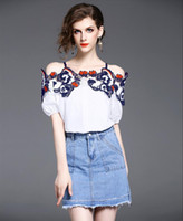 Wholesale Girl S Vogue Dress - New Summer Women Vogue Two Piece Sets Ladies Sexy Off-Shoulder T Shirts Short Sleeve Blouses + Girls Lovely Jean Skirts Denim Short Skirts