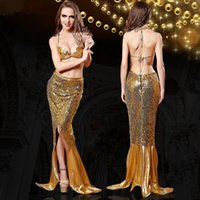 Wholesale costume erotica - Sequin Dress Mermaid Cosplay Woman Grace Trumpet Sexy Hot Gown for Female Charming Erotica Lenceria Garment Belly Exposed Lady