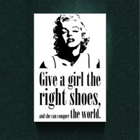 Marilyn Monroe Citazione 'Girl Shoes' Home Decor Canvas Print Moderna in bianco e nero Canvas art Poster Bar Pub Home Art Decor Moda personalizzata