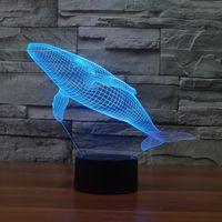acryl licht tisch großhandel-Großhandelsbaby-Kinderspielwaren reizende Nachtlichter der Illusions-LED des Wal-3D bunte Acryltischlampe für Partei-Weihnachtsgeschenk