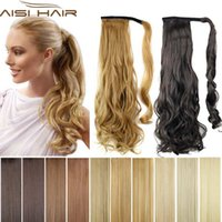 Wholesale Hair Curly Pony Tail Piece - Wholesale-Synthetic Long Wavy Clip In Wrap Around Ponytail Fake Hair Extension False Hair Ponytails Pad Hairpiece pony Tail Curly Piece