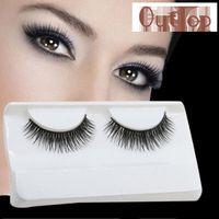 Wholesale Party False Eyelashes - GRACEFUL Natural Long Beauty Dense A Pair False Eyelashes Attractive Black Fibre Eyes Lashes for Party Date JUN6
