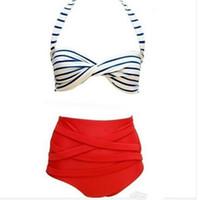 ingrosso adatti i vestiti stabiliti del bikini della vita-2017 New Rockabilly Dot Vintage Costume da bagno Sexy a vita alta Bikini Set costume da bagno Costumi da bagno Push Up Costume da bagno Beachwear Biquini