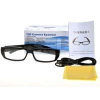 Wholesale Dhl Spy Camera - DHL Free Shipping Spy Camera Glasses 720*480 Eyewear Spy Hidden Camera Video Recorder Mini Camera Eyeglasses Wearable Spy Cam Camcorders