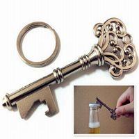 Wholesale Skeleton Key Bottle Opener Wholesale - 100set Vintage Key Bottle Opener Antique Key Metal Beer Opener Bronze Skeleton Keychain Bottle Openers Wedding Favor free DHL