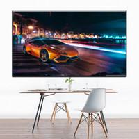 turuncu modern resim toptan satış-ZZ1286 modern tuval sanat turuncu spor araba için sokak manzara tuval resimleri petrol sanat boyama salon yatak odası dekorasyon