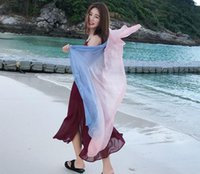 Wholesale Blue Silk Scarf Fabric - New Women Scarves Summer Wraps Silk Shawls Pashmina Scarf Ramie Cotton Fabric Long Scarves for Women Fashion Style Gradient Scarves 2 Colors