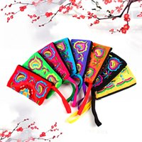Wholesale Wholesale Cluth Bags - Vintage Ethnic Long Cluth Bag Fashion Coin Purse Wallet Embroidered Women Ladies Bags Handbag