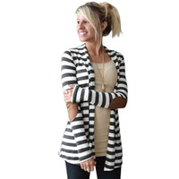 Wholesale Leather Elbow Patches - Wholesale-Striped Cardigan Women Elbow Patching PU Leather Long Sleeve Cardigans Jacket Cotton Open Stich Knitwear Poncho Pull Femme Hiver