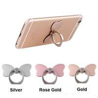 ingrosso fiore dell'anello di bowknot-DHL universale 360 gradi fiore bowknot coniglio anello titolare del telefono stand per iPhone 7 6s Samsung Huawei telefoni cellulari