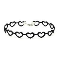 Wholesale England Tin - New Arrival 100% Handmade England Choker Suede Necklace Jewelry Hollow Heart Charm Black Velvet Choker YR145