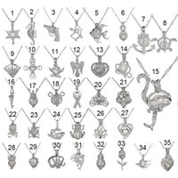 Wholesale Shark Chain - fashion Silver Pearl Cage Pendant Locket Necklace With Shark Mermaid Sea Horse Rose Pearls Oyster Pendant Charm Fine Jewelry For Women hot