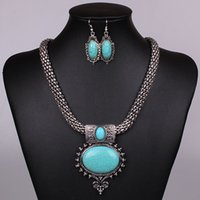 Wholesale Silver Emerald Pendants - New Women Jewellery Tibetan Silver CZ Crystal Chain Pendant Necklace Earrings Set Round Turquoise Jewelry sets