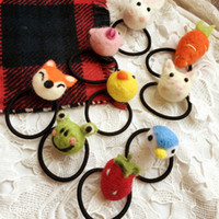 Wholesale Elastic Hair Bands Ball - Cute Poke Plush 11 style Girls Hair Accessories Hairbands Cat Fox Elf Ball Stuffed Animals Toys Headbands Girl Party Elastic Hair Band A7030