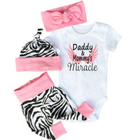 Wholesale Tight Zebra Pants - 2017 New Baby Outfits Zebra Short Sleeve Romper+ Pants Tight+Hat+ Bow headband Toddler Cotton 4pcs Sets Fashion Infant Clothing Suits A6055