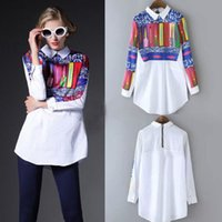 Wholesale Lady Geometric Blouse - New Fashion Spring Autumn Women Ladies Shrits Vintage Retro Casual Shirts Long Sleeve Top Blouse AWT0013