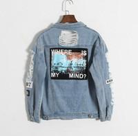 nakış ışıkları toptan satış-Toptan-Aklım nerede? Kore retro yıkama yıpranmış nakış mektup yama bombacı ceket Açık Mavi Yırtık Kot Ceket