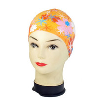 Wholesale- New Orange Flor Patrón Elástico Silicona Water Pool Swimming Hat Cap