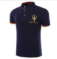 mannkronen großhandel-Maserati Crown Polo-Shirts Golf Slim Komfortable Designer Formale Polo-Shirts mit Baumwollmischung für Männer, Größe M-4XL
