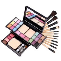 Wholesale Makeup Palette Leopard - Wholesale-Fashion 12 PCS Pro Makeup Brush Set Makeup Cosmetic Tool Leopard Bag Palette combination