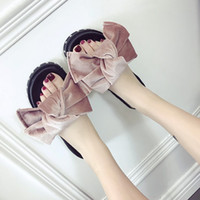 Wholesale Red Velvet Bow Heels - Girls big bow sandals velvet slippers beach shoes pink bow-knot flip flops rivets design platform shoes luxury crystal sandals