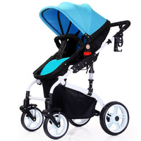 Wholesale Two Fold Umbrella - Ultra High Landscape Sit Lie Folding Four-wheel Baby Stroller Two-way Suspension Of Portable Stroller Bies Sending Five Free Gifts