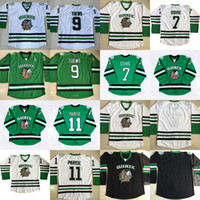 Dakota del Norte Lucha contra Sioux Hockey Jersey # 7 TJ Oshie Verde 9 Jonathan Toews 11 Zach Parise Universidad Throwback Stitched Jerseys