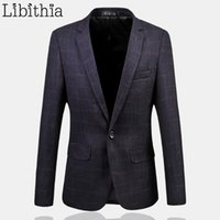 Wholesale Menswear Slim - Wholesale- Plaid Mens Jackets And Coats Winter Men's Suit Blazer Slim Fit Male Menswear Big Size 5XL 6XL Costume Homme Terno Masculino J207