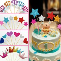 Wholesale Handmade Crown Baby - Wholesale-Handmade 6PCS Star Crown Heart Cake Toppers Wedding Cupcake Stand baby Girls Birthday Party Decoration Dessert fruit Topper