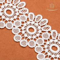 Wholesale Three Flower Bedding - 6.2cm Width New High-Quality Milk Silk Water-Soluble Embroidery Lace Three-Dimensional Flowers Lace Clothing and Skirt Decoration L40043