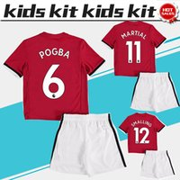 Wholesale Kids Football Uniforms Set - 2018 Kids Kit #6 POGBA home red Soccer Jerseys Child Youth Sets 17 18 Kids Set #7 ALEXIS children Football uniform #19 RASHFORD