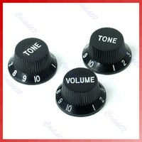 Wholesale Strat Knobs - Wholesale- B39Hot Sell Black Guitars Strat Knob 1-Volume 2-Tone Control Knobs for Stratocaster Free Shipping
