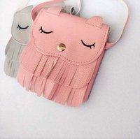 petit porte-monnaie achat en gros de-Gros-enfants glands sacs à main filles petit chat sac à bandoulière enfants sacs de messager mini sac Coin Mini sacs à main Toddler Wallet