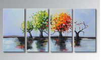 Wholesale Hq Pictures - YIJIAHE Wall Art h70 4Panel The tree with four seasons Hand-Painted HQ Paintings On Canvas Decorative Bedroom Living Room Office ect.