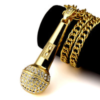 Wholesale Microphone Necklace Men - Mens Hiphop AAA Rhinestone Microphone Pendant Necklaces Long Hip Hop Necklace 18k Gold Plated Cuba Chain Fashion Jewelry For Men